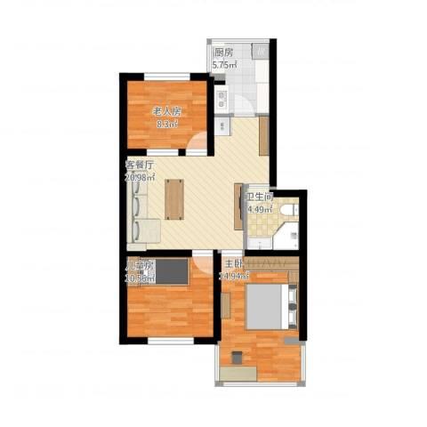 清泰小区3室1厅1卫1厨75.80㎡户型图