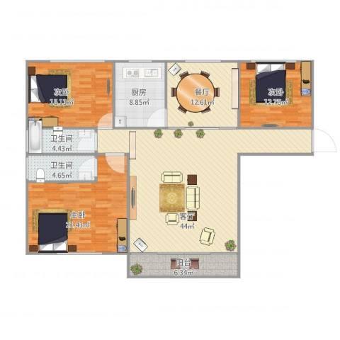 星河世纪城三期3室2厅2卫1厨174.00㎡户型图