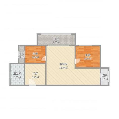 银寰花园2室1厅1卫1厨63.00㎡户型图