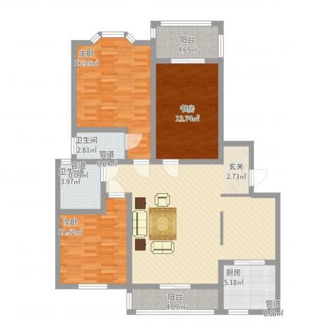 上城东郡3室1厅2卫1厨144.00㎡户型图