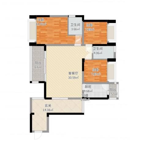 博罗区中港城3室1厅2卫1厨139.00㎡户型图
