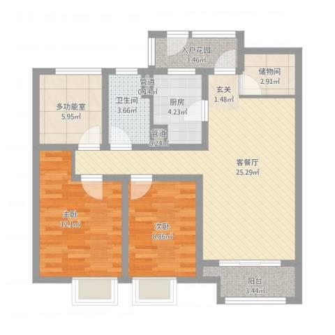 万科城2室1厅1卫1厨104.00㎡户型图
