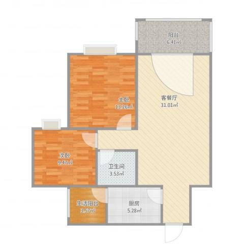 阳光清华2室1厅2卫1厨98.00㎡户型图
