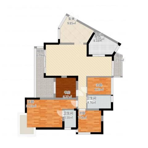 博罗区中港城4室1厅2卫1厨152.00㎡户型图