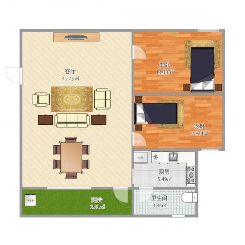 罗湖花园碧丽苑四零三2室1厅1卫1厨110.00㎡户型图