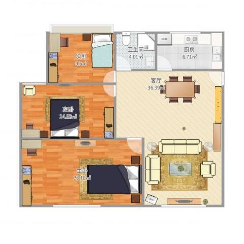 海上国际花园3室1厅1卫1厨125.00㎡户型图