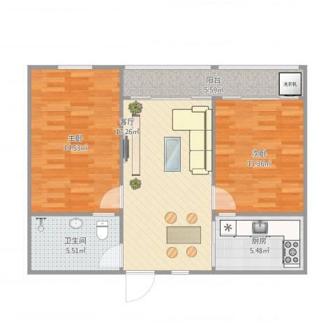 温馨园小区2室1厅1卫1厨81.00㎡户型图