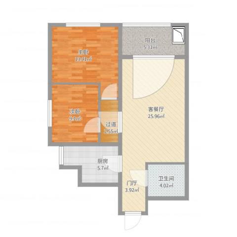 太铁北河湾2室1厅1卫1厨95.00㎡户型图