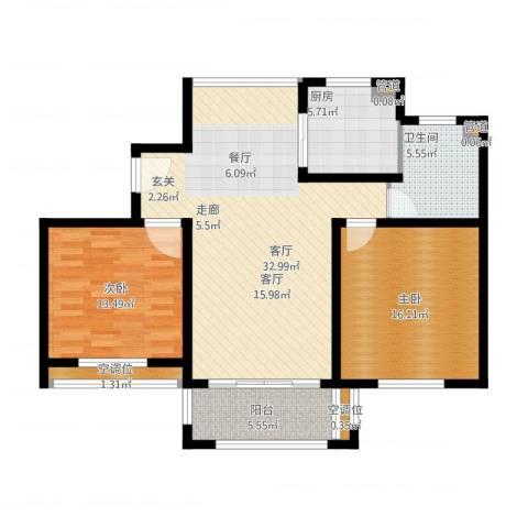 绿洲香格丽花园2室1厅5卫1厨118.00㎡户型图