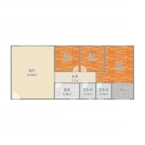 海湾新家园—单栋2单元海盈阁7L3室1厅2卫1厨146.00㎡户型图
