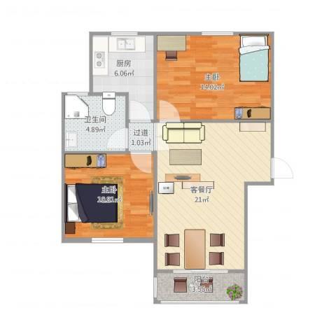 南苑六村2室1厅1卫1厨83.00㎡户型图