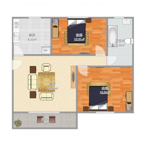康桥月苑2室1厅1卫1厨98.00㎡户型图