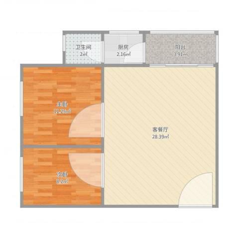 东怡花园B区1座8112室1厅1卫1厨75.00㎡户型图