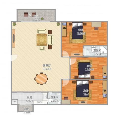 顺景蔷薇山庄110㎡户型3室1厅2卫1厨158.00㎡户型图