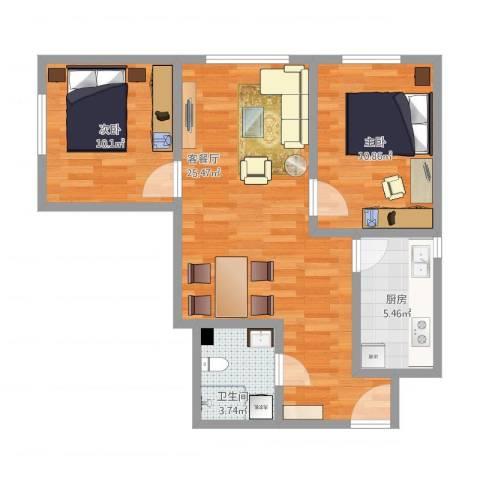 诗景颂苑7-12012室1厅1卫1厨79.00㎡户型图