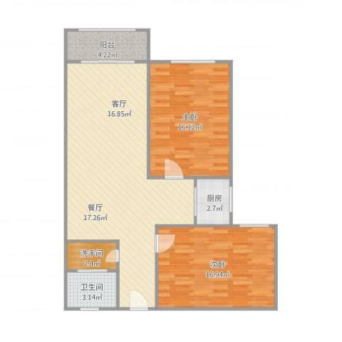 舜玉花园2室1厅1卫2室1厅1卫1厨107.00㎡户型图