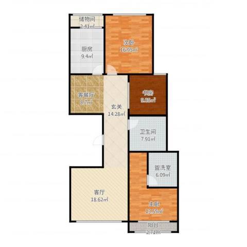 光明小区B3西侧3室1厅1卫1厨146.00㎡户型图