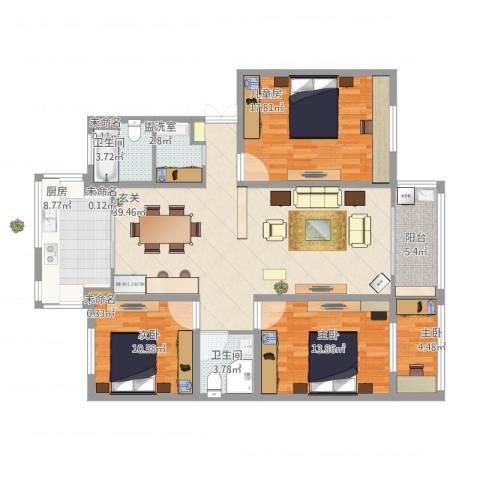 新升新苑4室1厅5卫1厨158.00㎡户型图