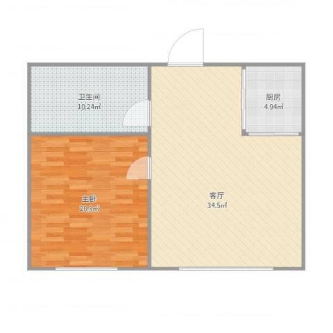 锦绣暖山1室1厅1卫1厨92.00㎡户型图