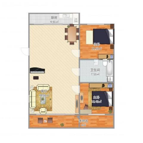 锦江园2室1厅1卫1厨120.00㎡户型图
