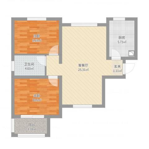 水木清华高层2室1厅1卫1厨85.00㎡户型图