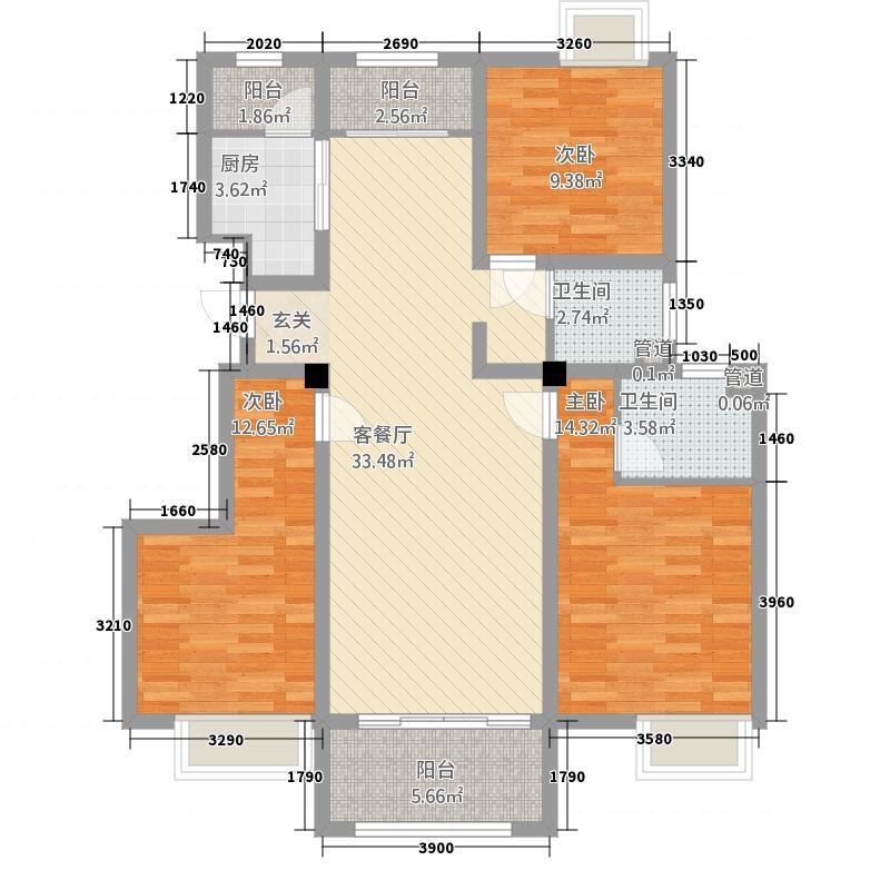 卧龙大观3312.62㎡Gb户型3室2厅2卫1厨