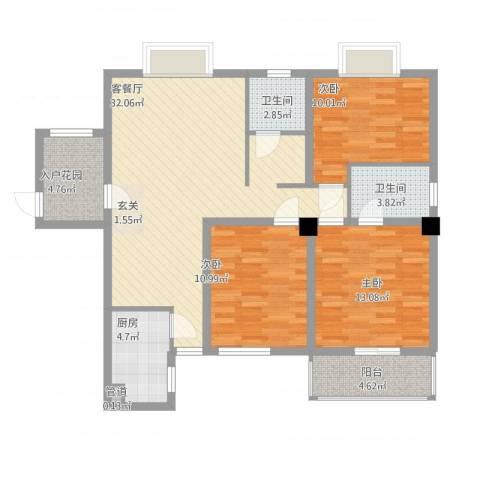 山水世家3室1厅2卫1厨125.00㎡户型图