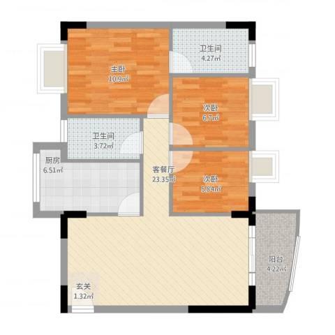 丽水湾3室1厅2卫1厨92.00㎡户型图