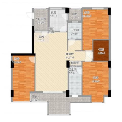 山水世家4室1厅2卫1厨161.00㎡户型图