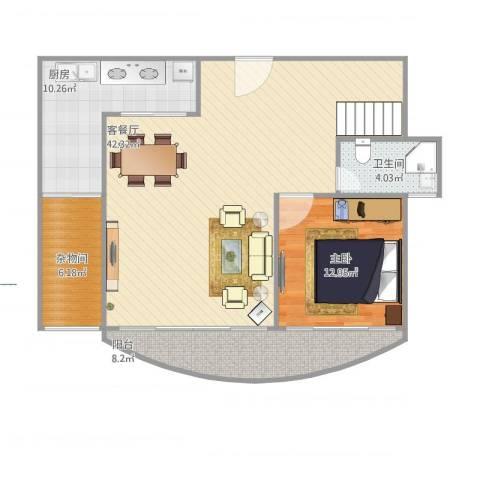爱家亚洲花园1室1厅1卫1厨112.00㎡户型图