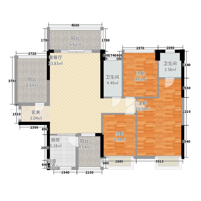 七里香溪24413.20㎡24号楼04号房户型3室2厅2卫1厨