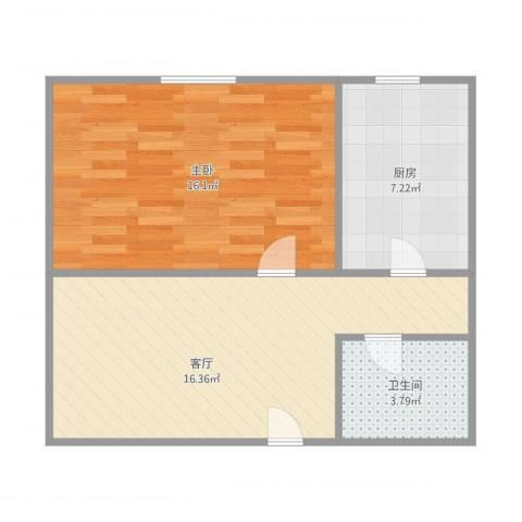 乐至里1室1厅1卫1厨46.87㎡户型图