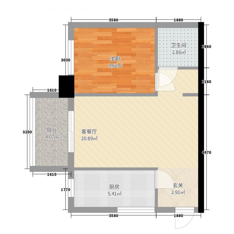 金湾步行街3158.42㎡3栋1单元061室户型1室1厅1卫1厨