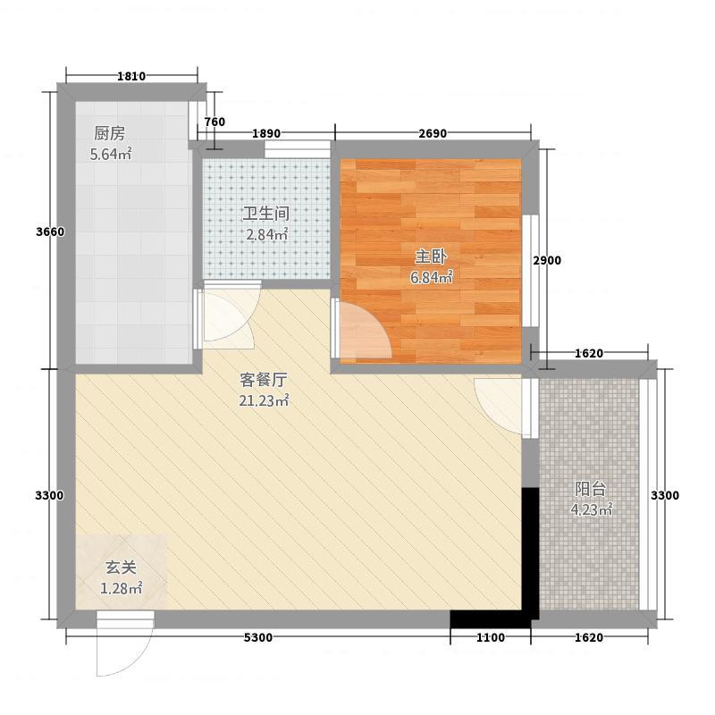 金湾步行街32.20㎡3栋2单元011室户型1室1厅1卫1厨