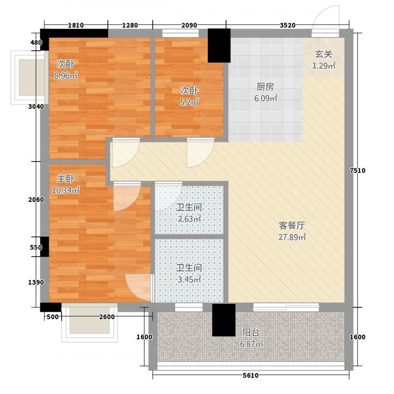 金湾步行街31288.85㎡3栋1/2单元02053室户型3室2厅2卫1厨