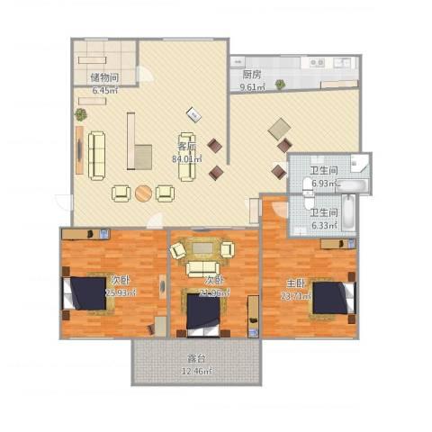 冠成大厦3室1厅2卫1厨260.00㎡户型图