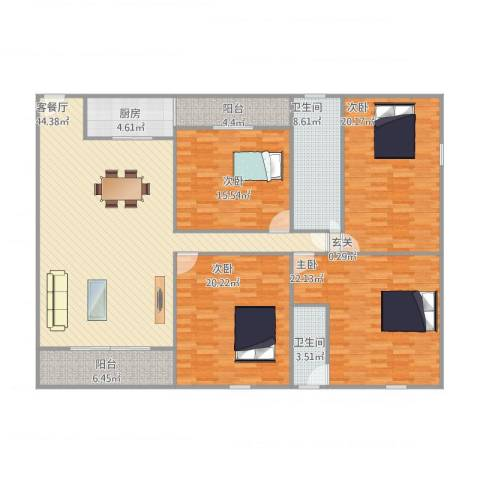丰达花园4室1厅2卫1厨201.00㎡户型图