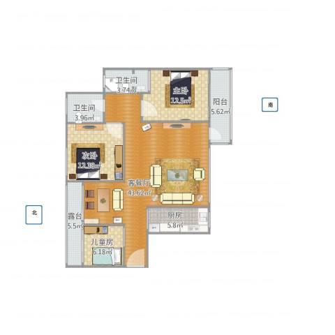 仁和WE城1283室1厅2卫1厨133.00㎡户型图