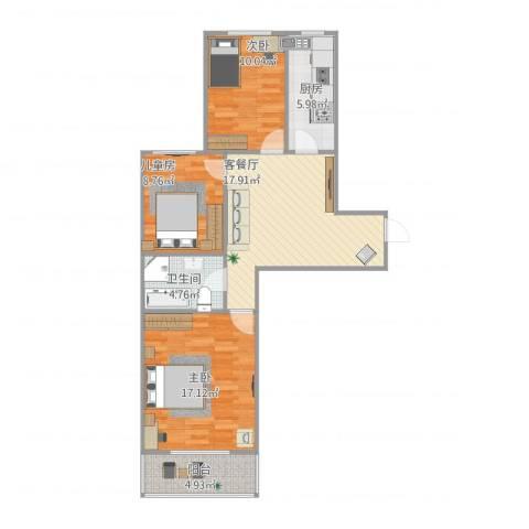 新裕家园3室1厅1卫1厨94.00㎡户型图