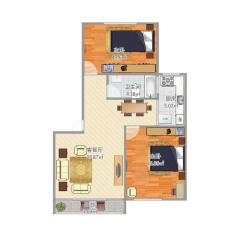 浦发绿城2079弄小区2室1厅1卫1厨94.00㎡户型图