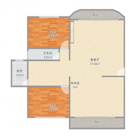 恒福湖景湾3#6022室1厅1卫1厨127.00㎡户型图