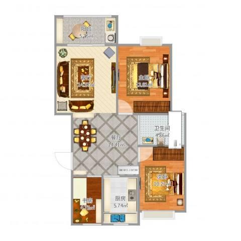 钓鱼台国宾馆3室1厅1卫1厨98.00㎡户型图