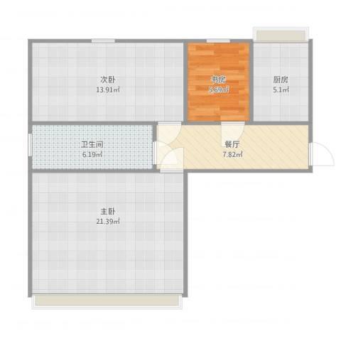 广播电视局宿舍3室1厅1卫1厨81.00㎡户型图