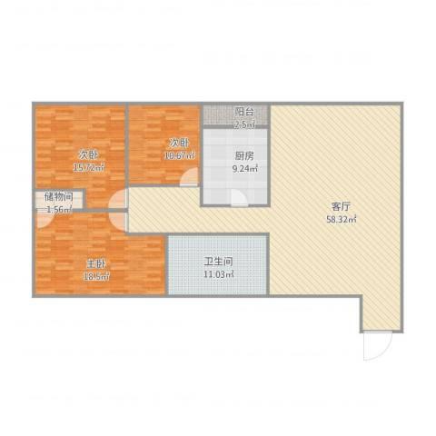 帝都广场・东方曼哈顿3室1厅1卫1厨170.00㎡户型图