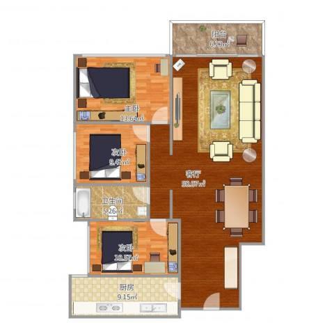 鹭江新城二期3室1厅1卫1厨139.00㎡户型图
