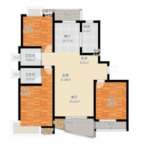 嘉宝都市港湾城3室1厅2卫1厨184.00㎡户型图