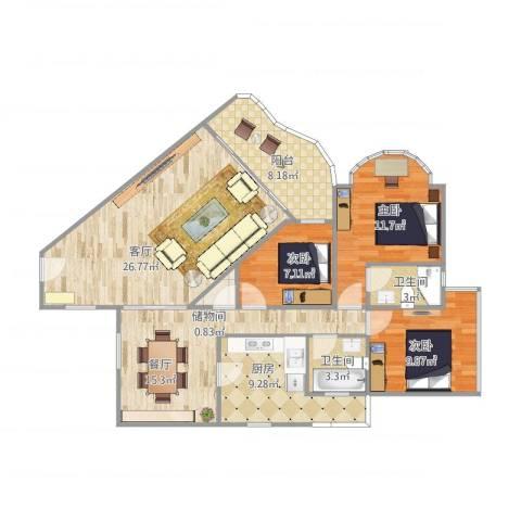 自然家园3室2厅2卫1厨129.00㎡户型图