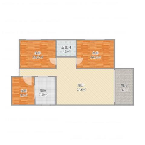 尚辉苑B1座706房3室1厅1卫1厨122.00㎡户型图