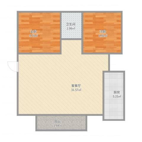 御景湾花园二期2室1厅1卫1厨84.00㎡户型图