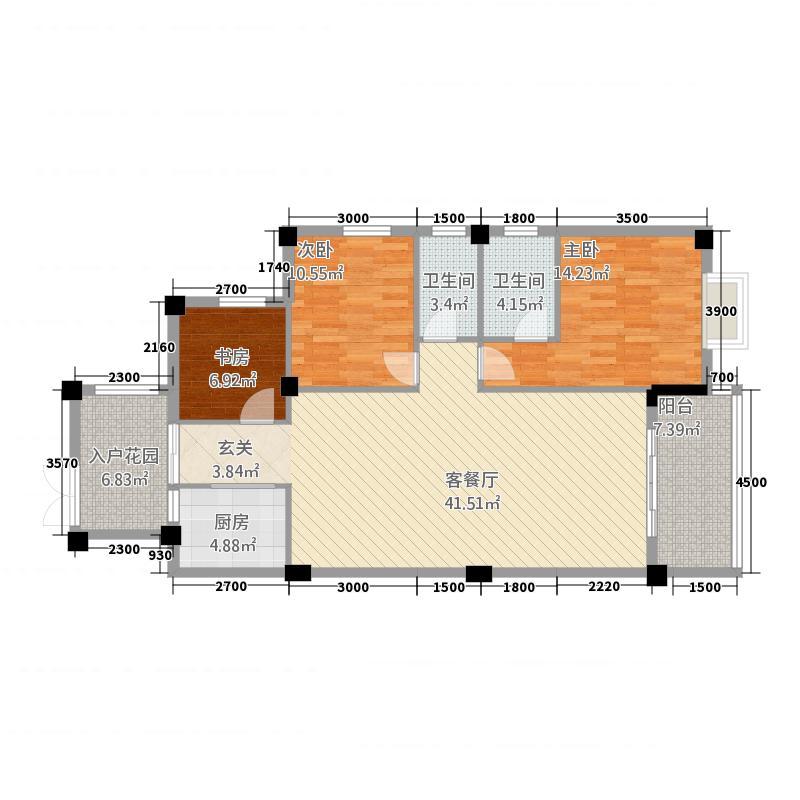 远洋・滨海国际1124.22㎡E#01、02户型3室2厅2卫1厨